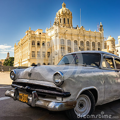 Old car near the Museum of  Revolution in Havana Editorial Stock Photo