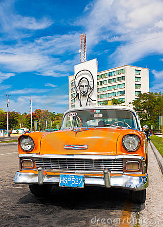 Old car parked at the Revolution Square in Havana Editorial Photo