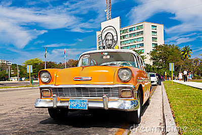 Old car in the Revolution Square in Havana Editorial Photo