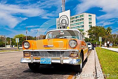 Old car in the Revolution Square in Havana Editorial Photo