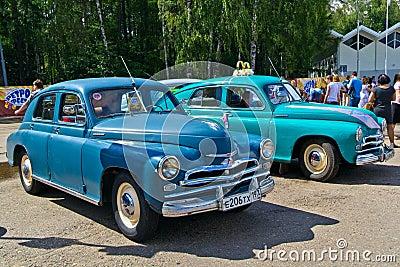Old car show on Retrofest. GAZ M-20 Pobeda Editorial Stock Image