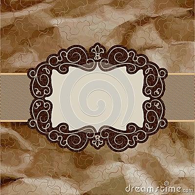 Old card design, brown vintage frame. EPS 8