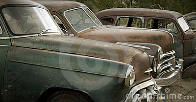 Old Cars Rusting at the Junkyard