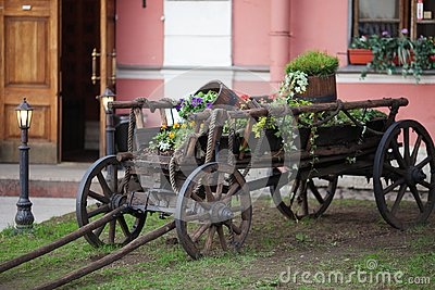 Old cart with flowers