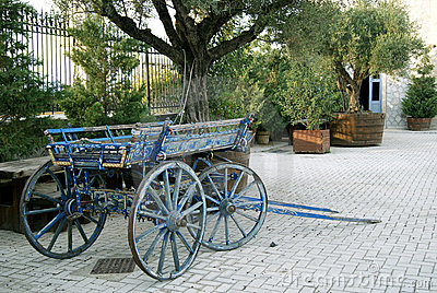 Old cart in paving street