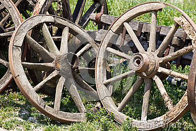 Old cart wheels