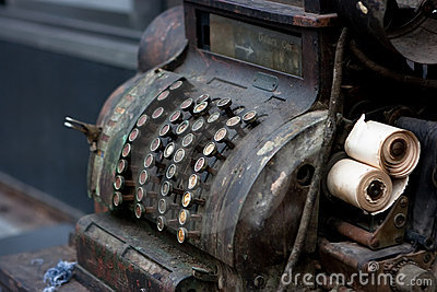 Old cash register machine