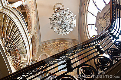 Old Casino interior stairs and chandelier