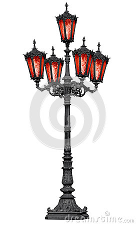 Free Old Cast Iron Lamp Post With Red Glass Royalty Free Stock Photography - 25455817