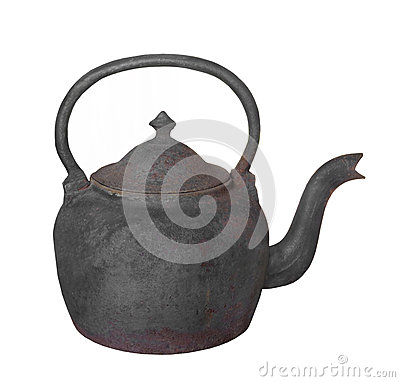 Free Old Cast Iron Teapot Isolated. Stock Photography - 44715372