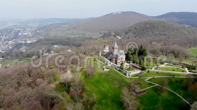 Old castle aerial in early spring stock video footage