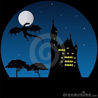 Old castle and dragon in moonlight