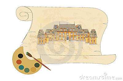 Old castle on parchment vector