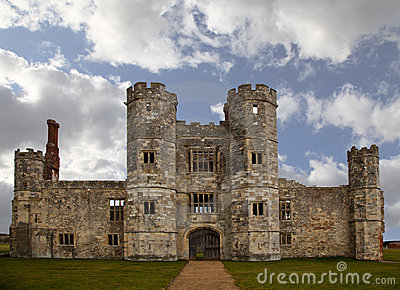 Old castle ruin in England with cloudy sky