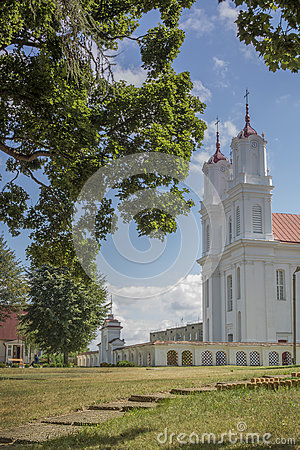 Free Old, Catholic Church In Little Latvia Town Dviete Stock Photo - 43531580