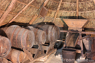 Old cellar into a thatched hut