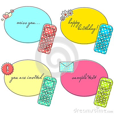 Old cellphone stickers set