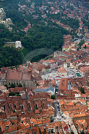 Old center of Brasov city Stock Photo