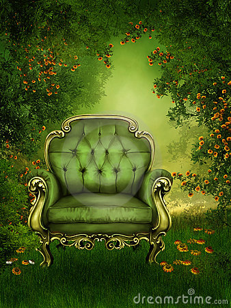 Old chair in a green garden