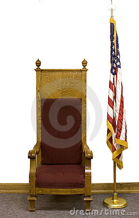 Old chair and US Flag.