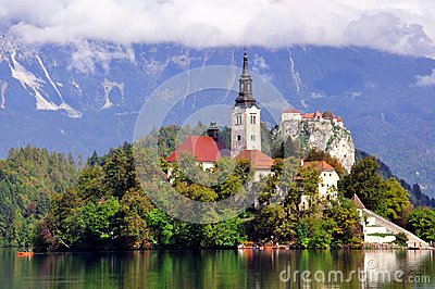 Old chapel on Bled lake