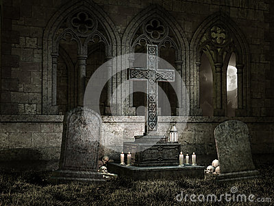 Old chapel with candles at night
