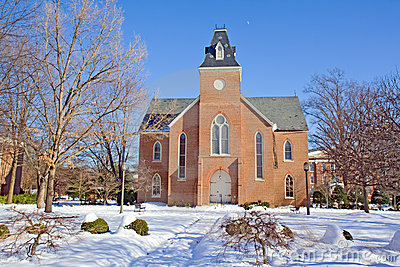Old chapel on a college campus in winter