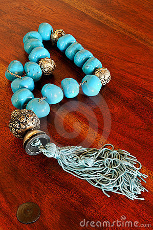 Old chaplet with turquoise beads