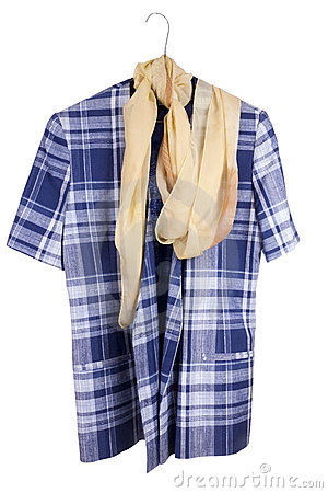 Old  checkered woman s retro blue  jacket