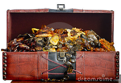 Old chest filled with Baltic amber