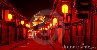 Old china town red lantern night