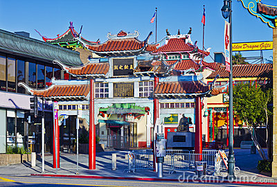 Old Chinatown Gate in Los Angeles Editorial Photo