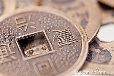 Old chinese coin close up