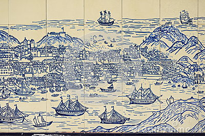 Old Chinese wall tiles depicting Macao island
