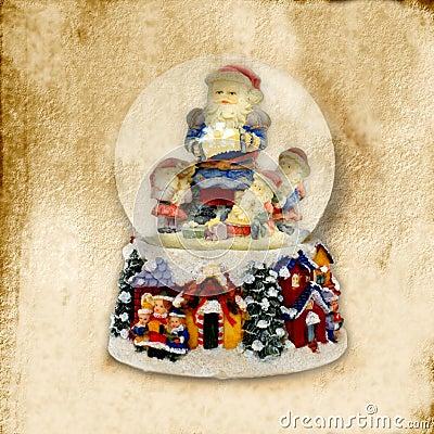 Old Christmas Card, Santa Claus ball of water
