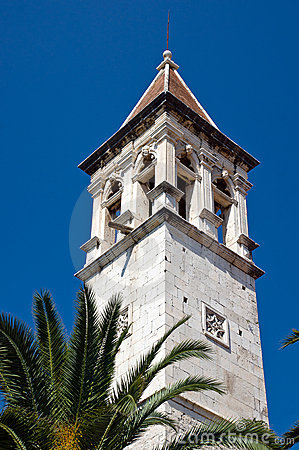 Old church belltower in ancient part of Trogir