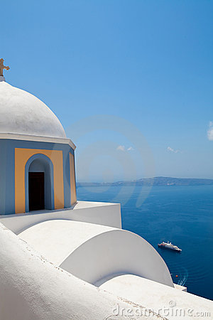 Old church dome in Thira, Santorini