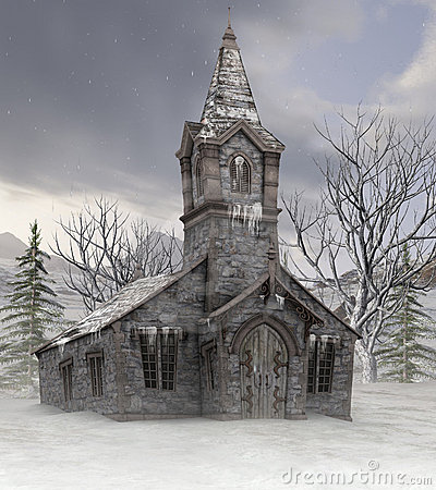 Free Old Church In Winter Royalty Free Stock Images - 22295569