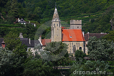 Old church nearby the danube river