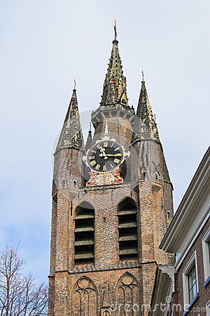 The old church tower in Delft.