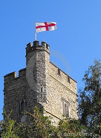Free Old Church Tower Flying The Saint George Flag Stock Photo - 12096130