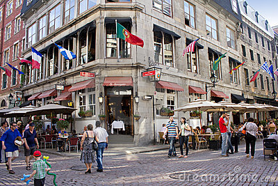 Old city district of Montreal. Editorial Stock Image