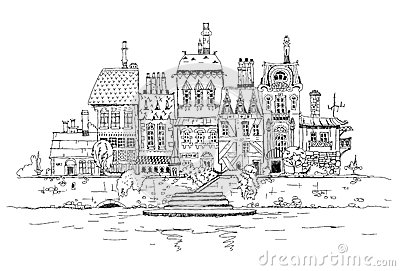 Stock Illustration Old City River Side Sketch Collection Image50334111 on luxemburg