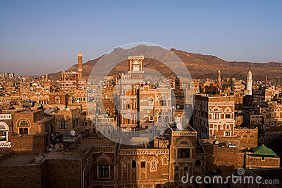 Old city of Sana in Yemen