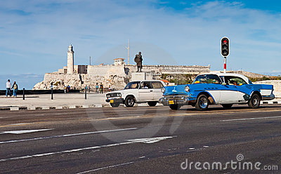 Old classic american car in Havana Editorial Stock Image