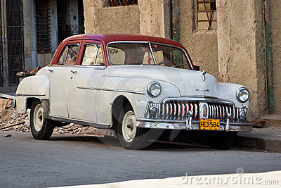 Old classic american car, an icon of Havana Editorial Stock Photo