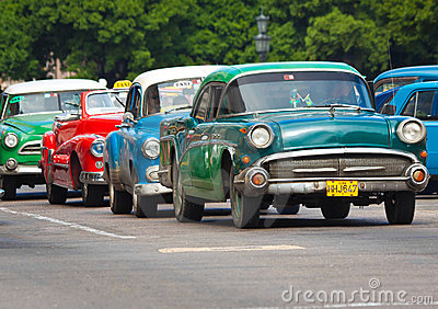 Old classic american cars in the streets of Havana Editorial Image