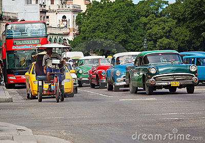 Old classic american cars in the streets of Havana Editorial Photo