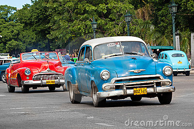Old classic american cars in the streets of Havana Editorial Stock Photo