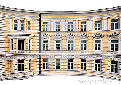 Old classic building facade isolated white